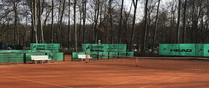 Tennisplätze 2, 3 und 4 ab Dienstag, den 16.03.21 wieder bespielbar, sofern das Wetter es zulässt